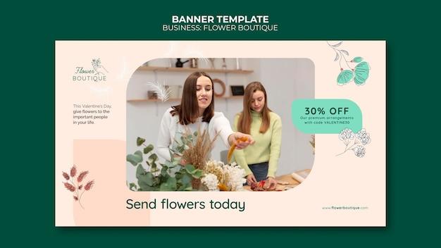 Modèle de bannière de boutique de fleurs avec remise