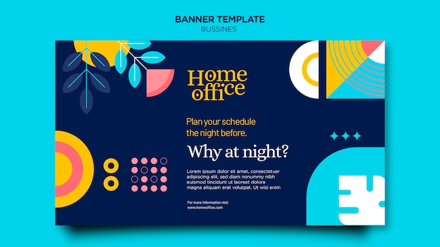 Modèle de bannière de bureau à domicile