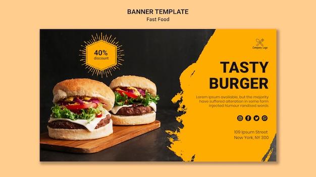 Modèle de bannière de burger savoureux