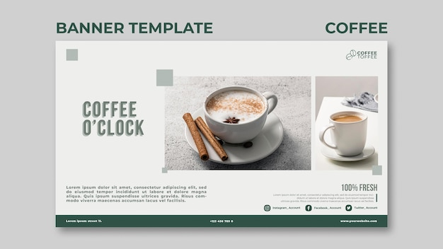 Modèle de bannière café heure