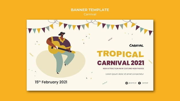 Modèle de bannière de carnaval illustré