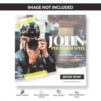 Modèle de bannière carrée ou flyer pour les photographes ou les agences de photographie