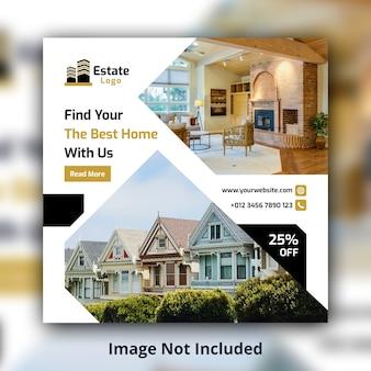 Modèle de bannière carrée immobilier médias sociaux