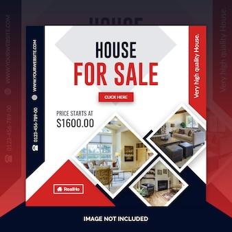 Modèle de bannière carrée immobilier