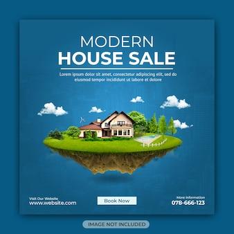 Modèle de bannière carrée instagram de médias sociaux de propriété de maison immobilière