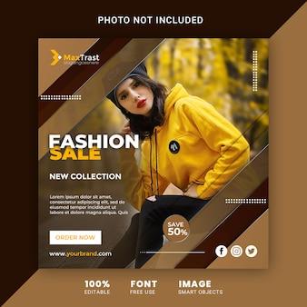 Modèle de bannière carrée instagram promotionnel de vente de mode