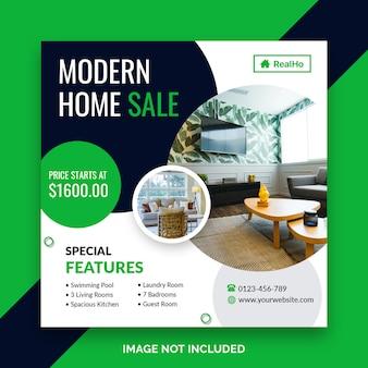 Modèle de bannière carrée maison à vendre