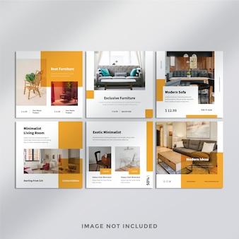 Modèle de bannière carrée de meubles minimalistes