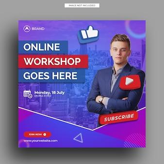 Modèle de bannière carrée pour atelier de diffusion en direct sur les médias sociaux