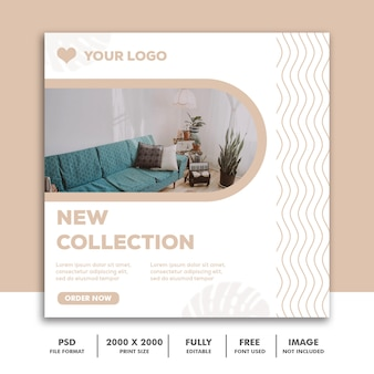Modèle de bannière carrée pour instagram, crème élégante de décoration d'architecture de meubles