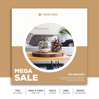 Modèle de bannière carrée pour instagram, décoration d'architecture de meubles clean brown