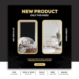 Modèle de bannière carrée pour instagram, décoration de meubles architecture vert noir or élégant