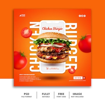 Modèle de bannière carrée publication de médias sociaux pour le menu de restauration rapide restaurat burger