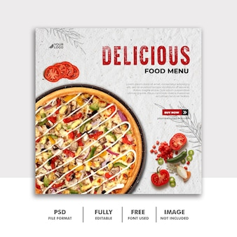 Modèle de bannière carrée de publication de médias sociaux pour la pizza de restaurant