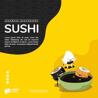 Modèle de bannière carrée restaurant sushi asiatique
