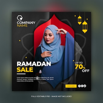 Modèle de bannière carrée de vente de mode ramadan