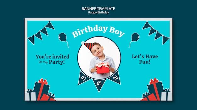 Modèle de bannière de célébration d'anniversaire
