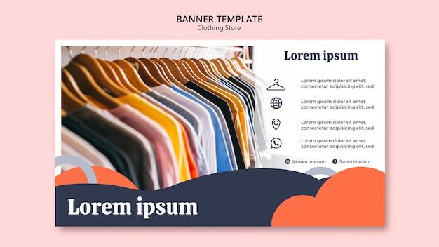 Modèle de bannière avec des chemises sur des cintres