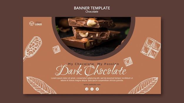 Modèle de bannière de chocolat noir