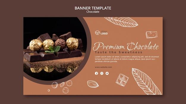 Modèle de bannière de chocolat premium