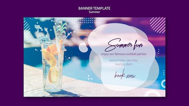 Modèle de bannière de cocktail d'été