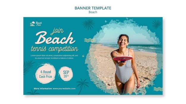 Modèle de bannière de compétition de tennis de plage
