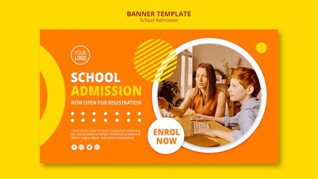 Modèle de bannière de concept d'admission scolaire