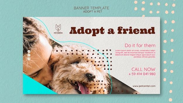 Modèle de bannière avec concept d'adoption pour animaux de compagnie