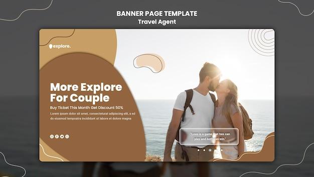 Modèle de bannière de concept d'agent de voyage