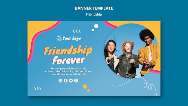 Modèle de bannière de concept d'amitié