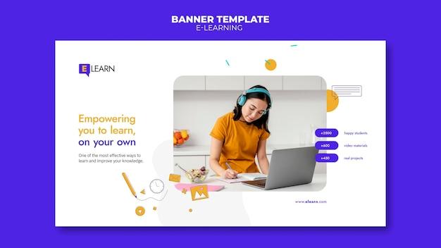 Modèle de bannière de concept d'apprentissage en ligne