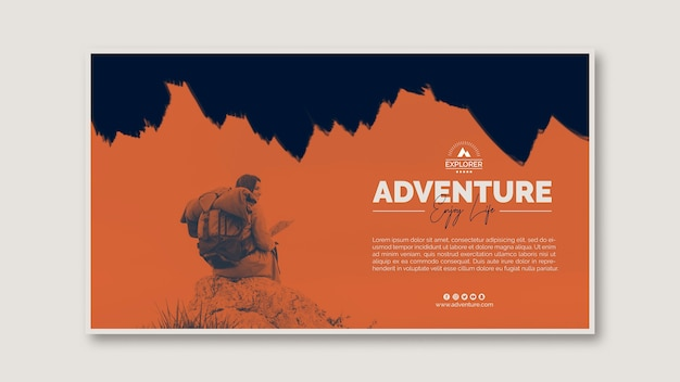 Modèle de bannière avec concept d'aventure