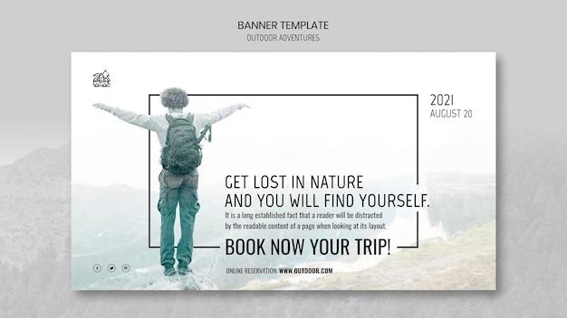 Modèle de bannière de concept d'aventures en plein air