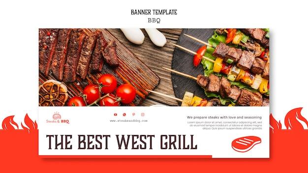 Modèle de bannière avec concept de barbecue