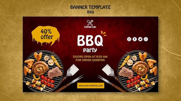 Modèle de bannière de concept de barbecue