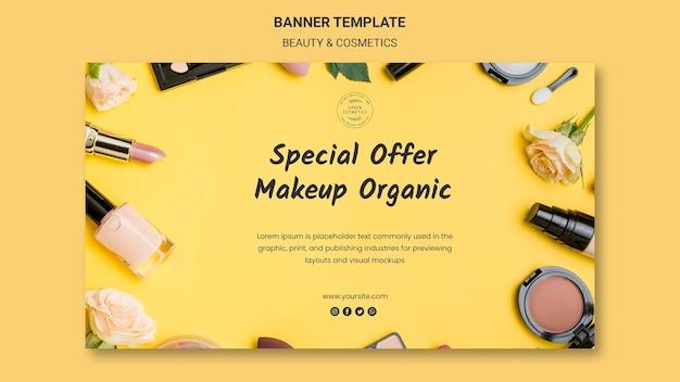 Modèle de bannière de concept de beauté et de cosmétiques