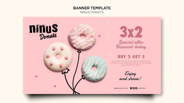 Modèle de bannière de concept de beignets