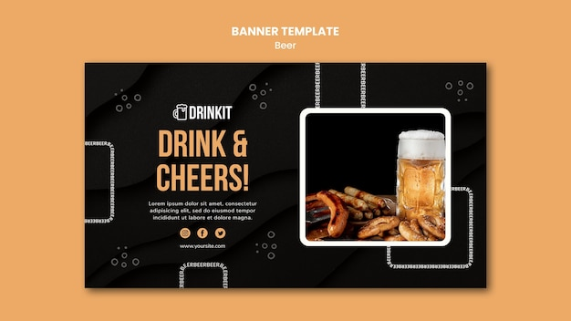 Modèle de bannière de concept de bière
