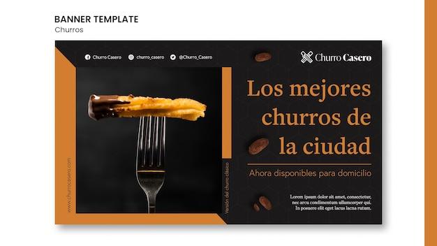 Modèle de bannière de concept de churros