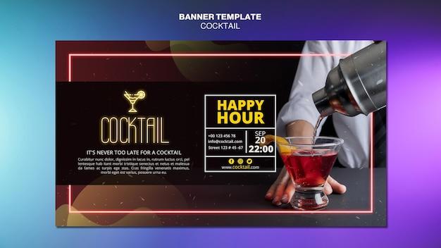 Modèle de bannière de concept de cocktail