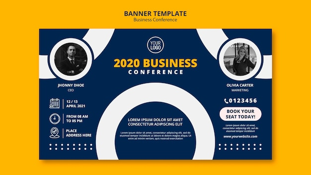 Modèle de bannière de concept de conférence commerciale