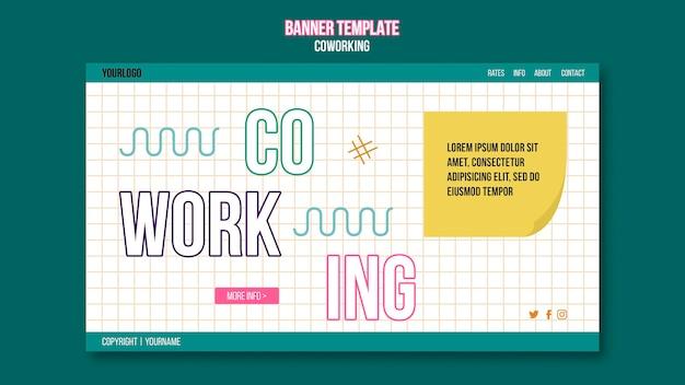 Modèle de bannière de concept de coworking