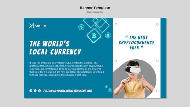 Modèle de bannière de concept de crypto-monnaie