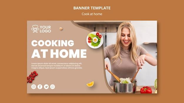 Modèle de bannière avec concept de cuisine