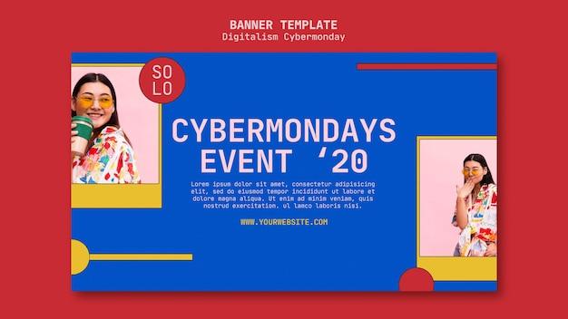 Modèle de bannière de concept cyber monday