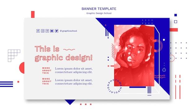 Modèle de bannière de concept école de design graphique