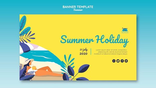 Modèle de bannière de concept d'été