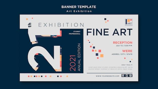 Modèle de bannière de concept d'exposition d'art