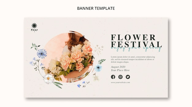 Modèle de bannière de concept de festival de fleurs