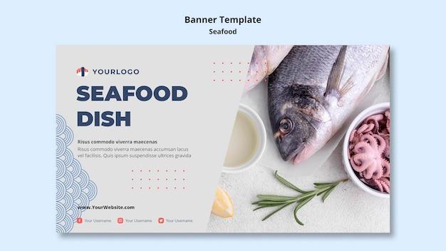 Modèle de bannière de concept de fruits de mer